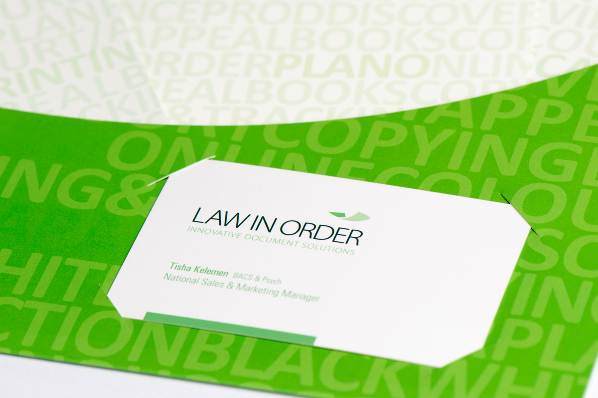Law in Order Corporate Folder Business Cards
