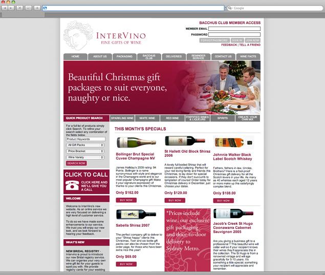 Intervino Website Design